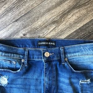 Express Jeans - Mid Rise Skinny Distressed Ripped Jeans